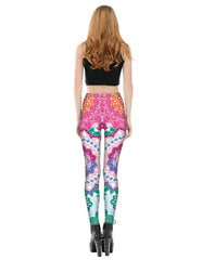 Colorful Cutwork Printed Leggings