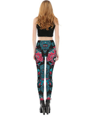 Tattoo Abstract Skulls Printed Leggings