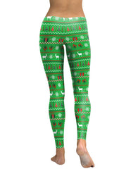 Green Christmas Elements Print Leggings