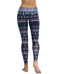 Blue Knitted Christmas Elements Print Leggings