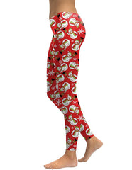 Frosty The Snowman Red Christmas Print Leggings