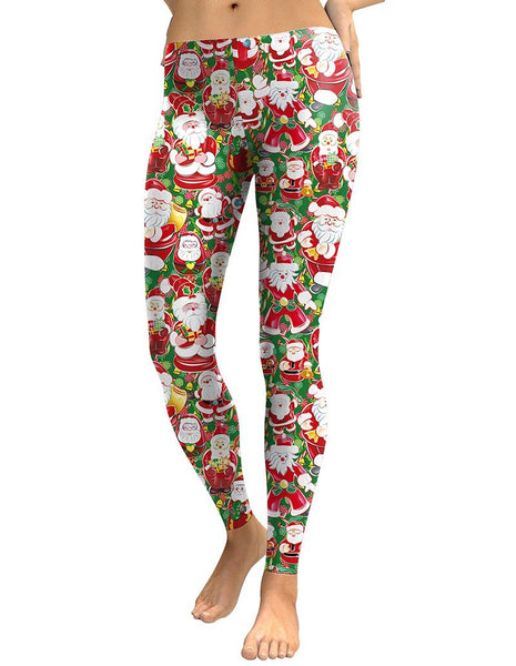 Cute Santa Claus With Christmas Gifts Print Leggings