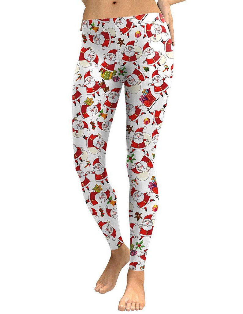 Santa Claus With Christmas Gifts Print Leggings
