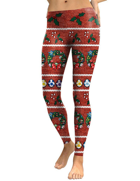 Red Christmas Super Mario Games And Easter Eggs Print Leggings