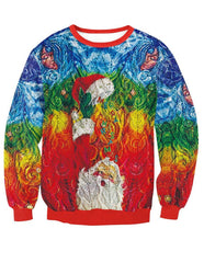 Abstract Santa Claus Knit Print Pullover Sweatshirt
