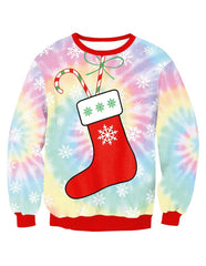 Cute Christmas Stocking Within Tootsie Roll Print Pullover Sweatshirt