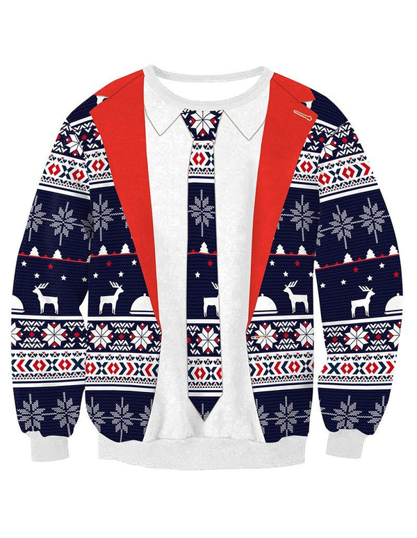 Christmas Elements Cardigan With Necktie Print Pullover Sweatshirt