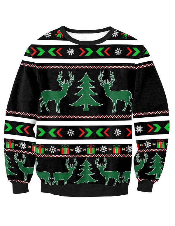 Christmas Reindeer With Tree Print Pullover Sweatshirt
