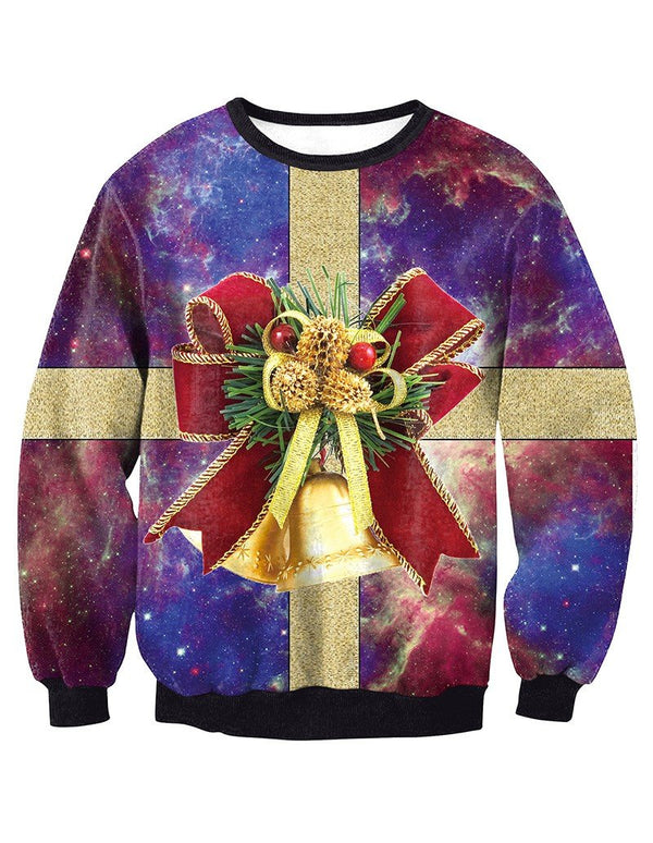 Christmas Jingle Bells In Galaxy Nebula Print Pullover Sweatshirt