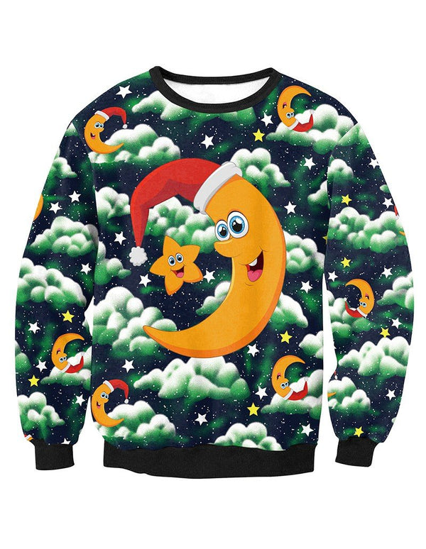 Stars And Moon In Christmas Hat Print Pullover Sweatshirt