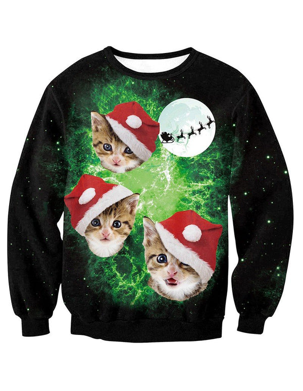 Cats In Christmas Hat Print Pullover Sweatshirt