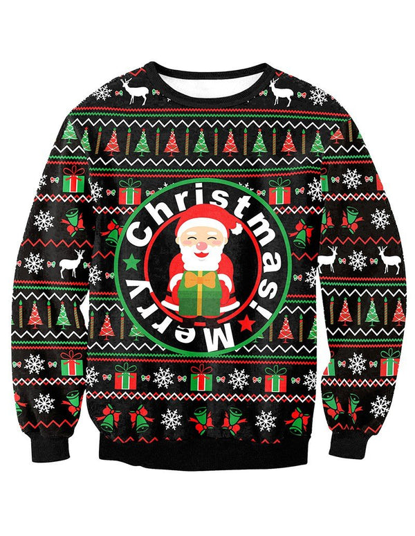 Merry Christmas Elements Print Pullover Sweatshirt