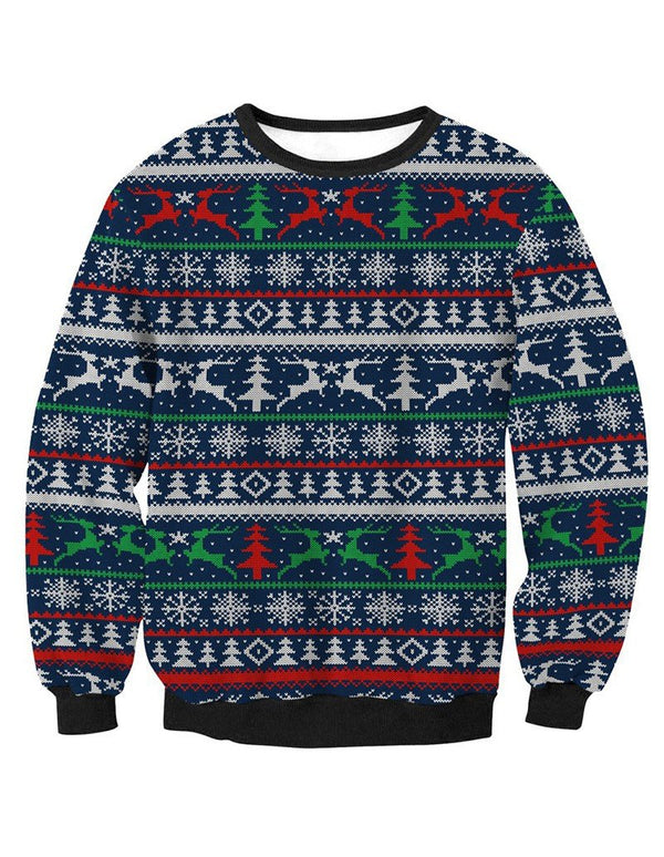 Knitted Ugly Christmas Sweater Print Pullover Sweatshirt