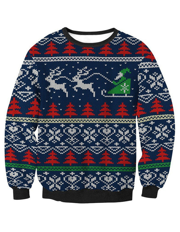 Ugly Christmas Sweater Print Pullover Sweatshirt