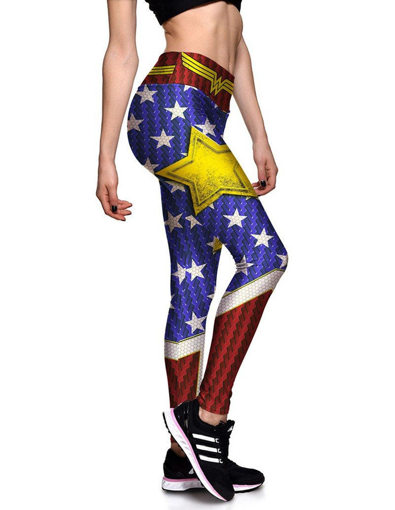Wonder Woman Stars Printed Womens Workout Running Tights Leggings