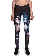 Corpse Bride Printed Breathable Womens Workout Running Leggings