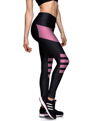 Slimming Elastic Waistband Breathing Striped Womens Workout Leggings