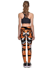 Cartoon Tiger Patterned Elastic Waistband Womens Workout Yoga Leggings