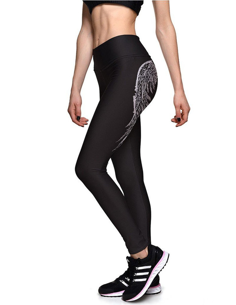Sassy Back Wings Print Womens Workout Running Yoga Tights Leggings
