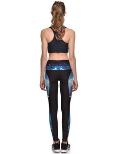 Blue Universe Galaxy Print Workout Running Yoga Leggings For Women
