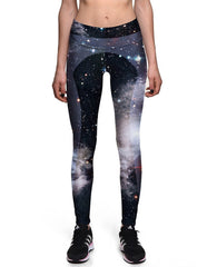 Black Galaxy Cosmic Nebular Print Womens Workout Yoga Leggings
