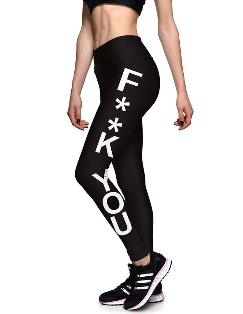 Fk You Letters Print Womens Black Breathable Workout Yoga Leggings