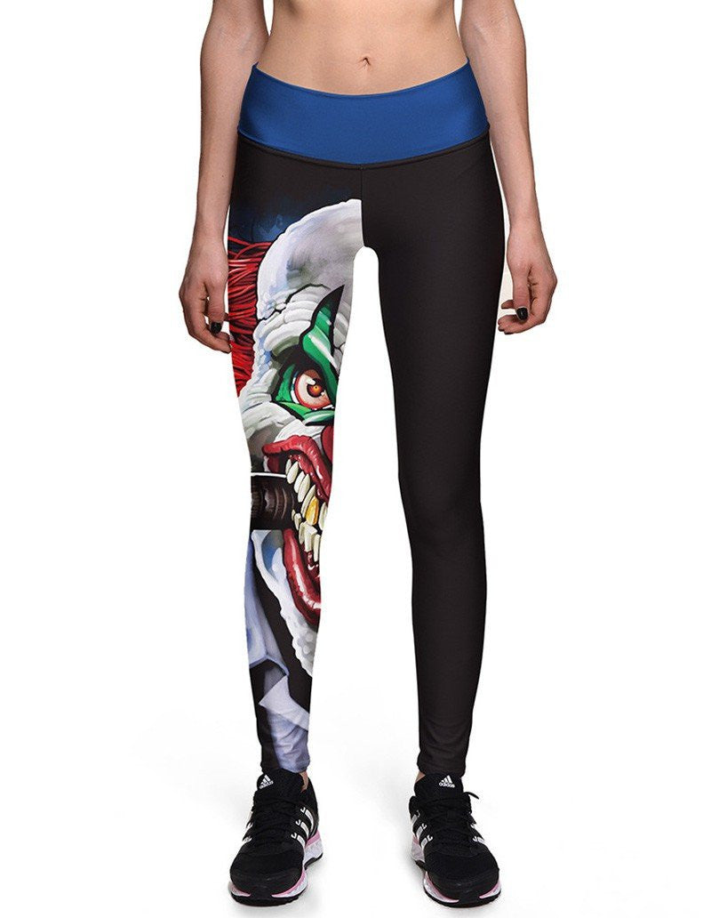 Womens Ghost Head Print Elastic Waistband Workout Tights Leggings