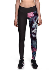 Leopard Head Floral Butterfly Printed Womens Workout Yoga Leggings