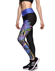 Fashion Purple Floral Printed Tights High Waisted Running Leggings