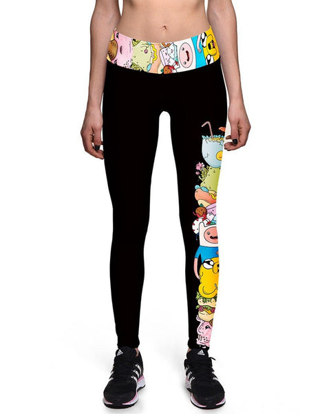 Adventure Time Printed Elastic Waistband Womens Workout Yoga Leggings
