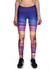 Financial Sleepless City Printed Womens Professional Workout Leggings