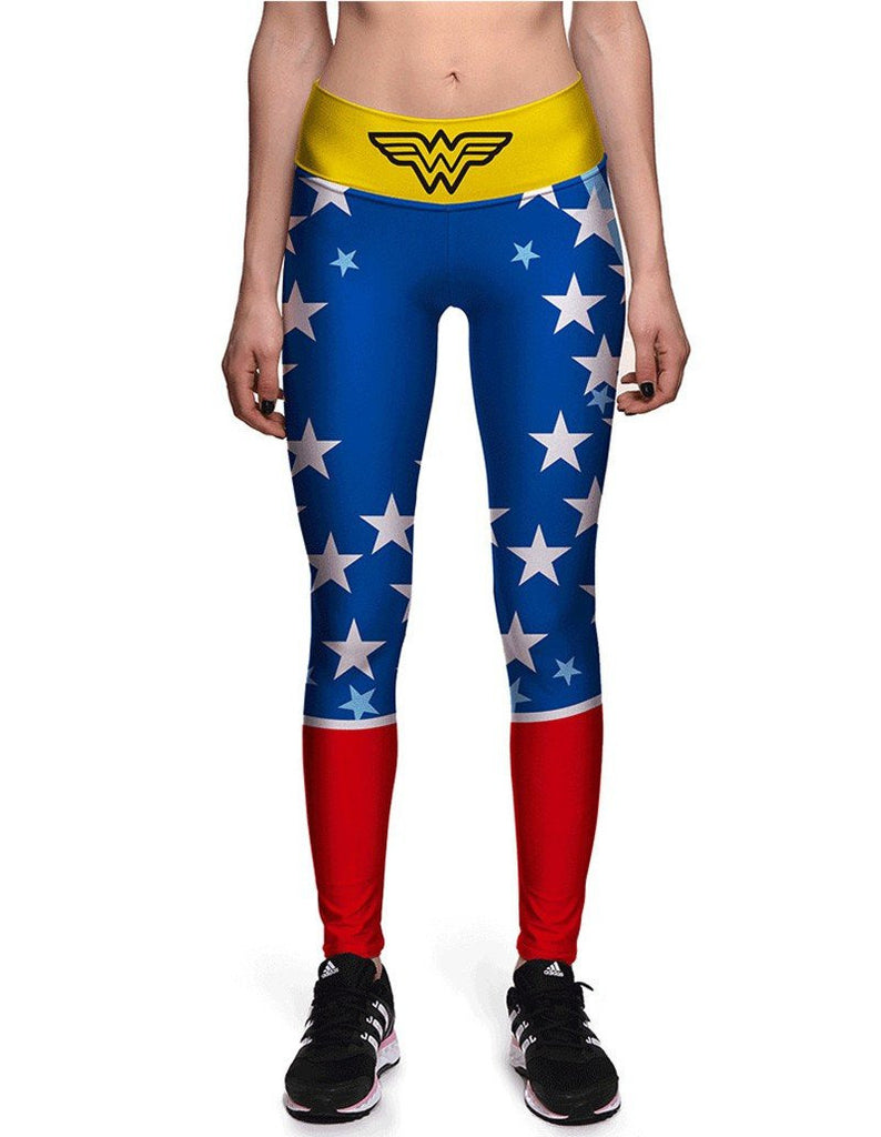 Wonder Woman Print Elastic Waistband Womens Breathing Workout Leggings