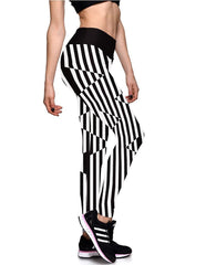 Vertical Striped Elastic Waistband Breathing Workout Tights Leggings