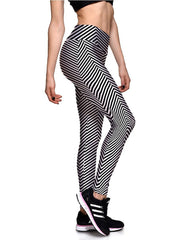 Womens Striped Printed Elastic Waistband Workout Tights Leggings