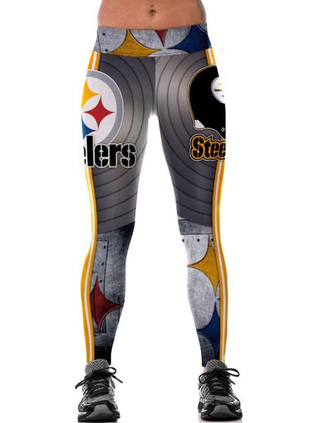 Steelers Abstract Geo Print Stretchy Womens Workout Tights Leggings