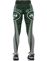 Womens Green New York Jets Rugby Print Workout Running Leggings