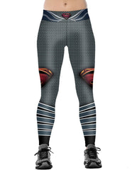 Superman Mark Printed Elastic Waistband Womens Flexible Tight Leggings