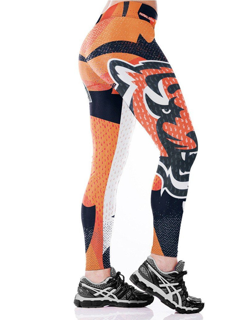 Womens Cool Tiger Head Printed Stretchy Workout Dancing Yoga Leggings