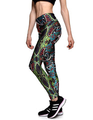 Abstract Floral Printed Elastic Waistband Womens Yoga Workout Leggings