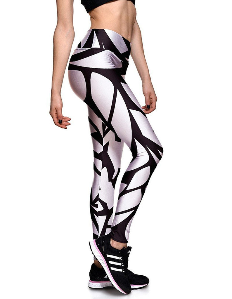 Black And White Veins Printed Elastic Waistband Yoga Workout Leggings