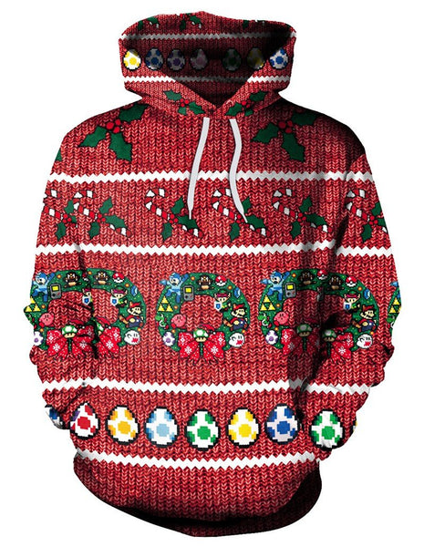 Christmas Super Mario Games And Easter Eggs Print Pullover Hoodie