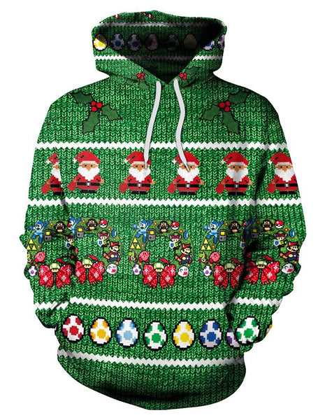 Green Santa Claus And Super Mario Games Eggs Print Pullover Hoodie