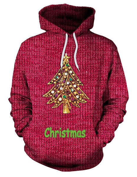Red Embellished Christmas Tree Print Pullover Hoodie