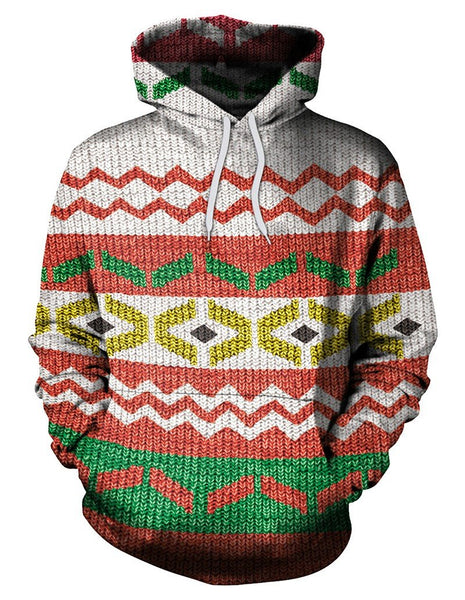 Wave Knits Print Pullover Hoodie