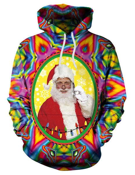 Santa Claus In Colorful Mirror Print Pullover Hoodie