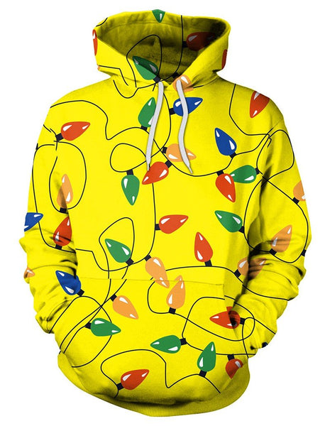 Christmas Decorative Lights Print Pullover Hoodie Yellow