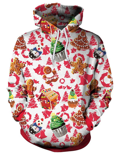 Christmas Tree Cupcake And Gingerbread Man Print Pullover Hoodie