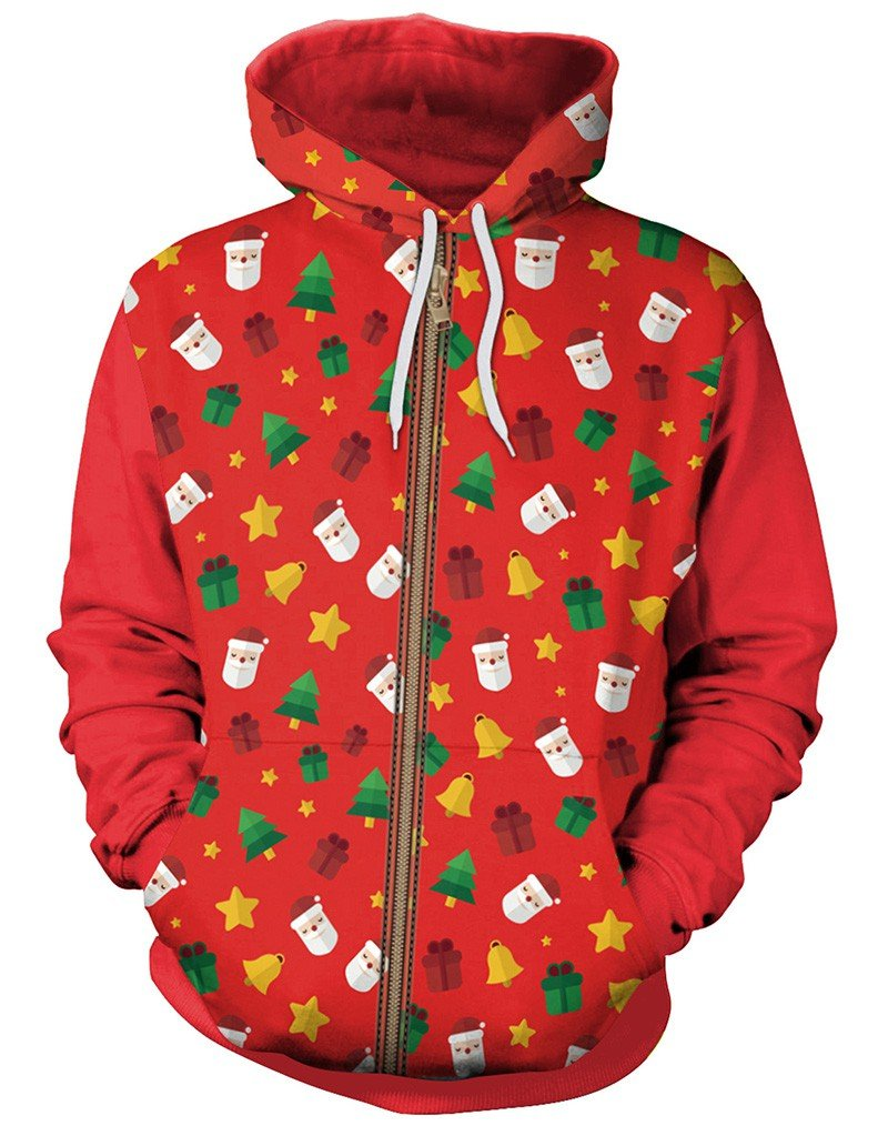 Christmas Jingling Bell And Santa Claus Print Red Pullover Hoodie