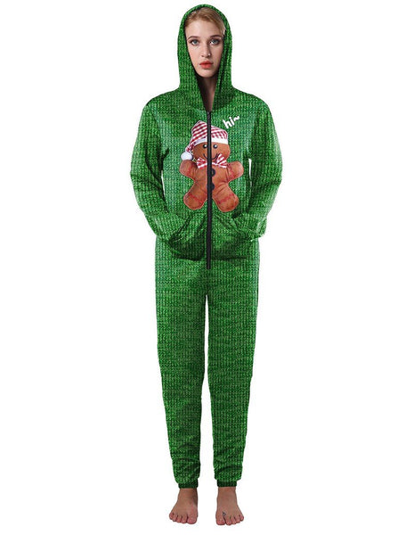 Casual Gingerbread Man Print Green Loose Hooded Jumpsuit