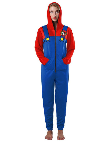 Super Mario Bros. Print Red Blue Casual Loose Hooded Jumpsuit